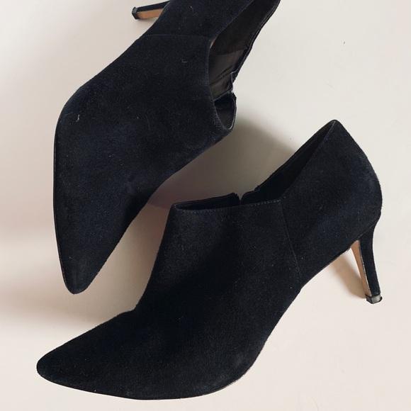 Heel Booties Black Suede Ankle Boots